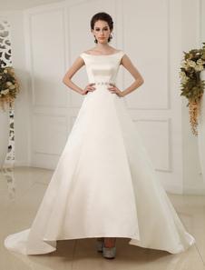 Image of Vestito da sposa con strascico e perline in raso avorio Milanoo
