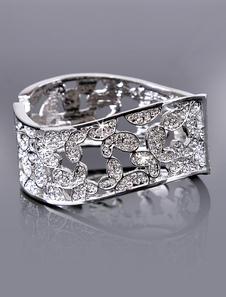 Chic Silver Rhinestone Metal Wedding Wide Bracelet