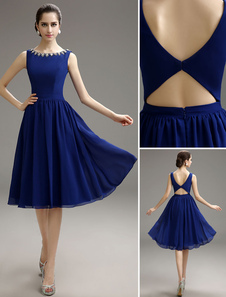 Image of Blue Prom Dress 2018 Short Chiffon Beaded Cocktail Dress Royal Blue Knee Length Party Dress Milanoo