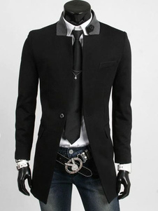 Black Trench Coats With Notch Collar
