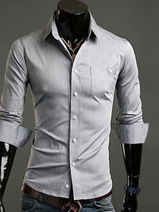 Camisa de algodón mezclado con escote V amplio