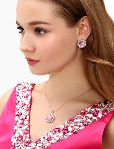 Ensemble bijoux métallique rose rond