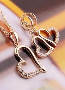 Magnifique ensemble bijoux en Cubic Zirconia de pendentif en coeur