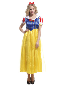 Halloween Snow White Costume Yellow Princess Costume Cosplay With Headgear And Dress