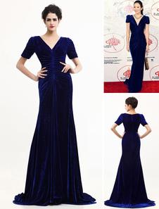 velvet-v-neck-celebrity-dress