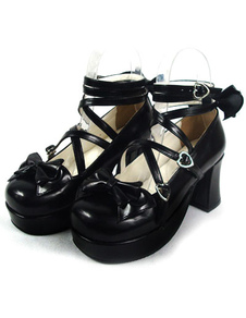 glossy-black-lolita-chunky-heels-shoes-platform-ankle-straps-bows-round-toe