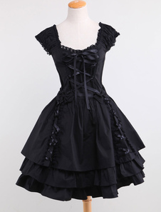 Gothic Lolita Dress OP Black Square Neck Short Sleeve Ruffle Tiered Lolita One Piece Dress