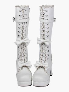 Sweet Lolita Boots White Lace Up Mid Calf Lolita Boots