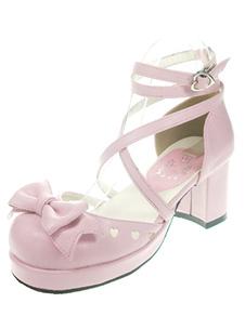 Chaussures de lolita en PU rouge orné de noeuds