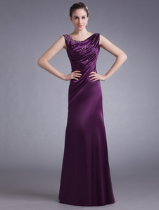 Lavender Evening Dress Satin Sleeveless Beading Mother S Dress Ruched Floor Length Long Prom Dress