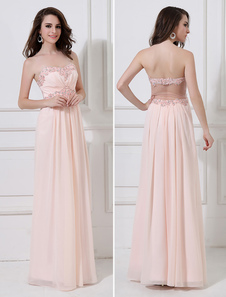 Peach Evening Dress Chiffon Beaded Prom Dress Strapless Sweetheart A Line  Floor Length Party Dress