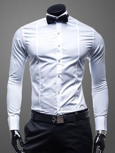 Algodón formar camisa manga larga cuello de cobertura