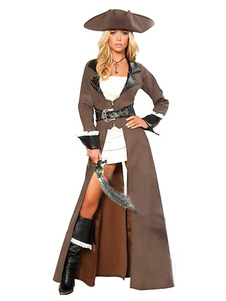 Halloween Brown Pirate Womens Costume Pirates Of The Caribbean Costume Cosplay