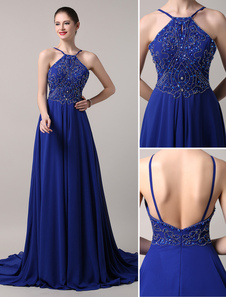 Image of Blue Prom Dress 2018 Long Chiffon Beaded Evening Dress Royal Blue Backless Party Dress With Train