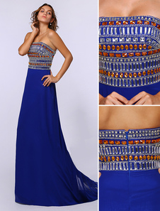 Image of Exquisite Rhinestone Beading Royal Blue Prom Dress