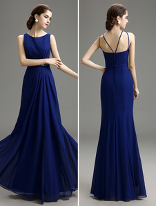 Image of Blue Prom Dress 2018 Long Chiffon Mermaid Evening Dress Royal Blue Bateau Neck Pleated Party Dress Milanoo