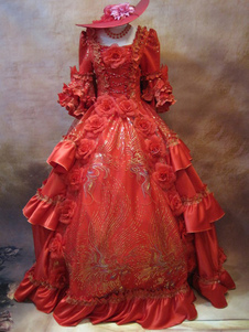 Classic Red Floral Print Satin Short Sleeve Rococo Royal dress