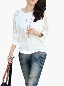 Image of T-shirt bianco moderno trasparente in cotone