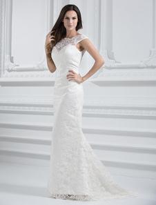 Image of Abbigliamento da sposa avorio pizzo senza spalline sirena strascico