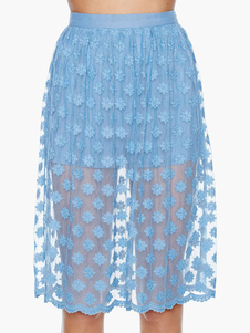 Blue Embroidered Knee Skirt