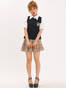 Halloween Nerd Costume Multi Color Womens Sexy School Girl Costume