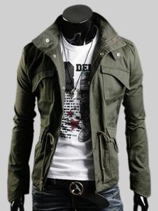 Abrigo de hombre 2018 chaqueta militar Hunter Green Stand Collar manga larga Casual Chaqueta