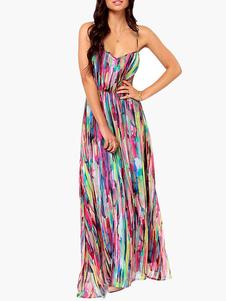 Multi Color Tie Dye Long Slip Dress