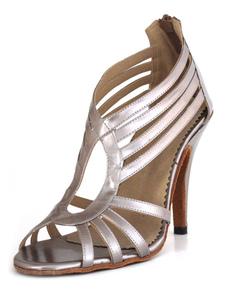 Image of Argento scarpe latino di Spike tacco Strappy Pullover donna