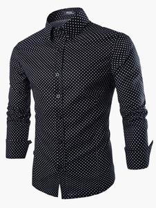 Algodón lunares manga larga Stand cuello camisa Casual para hombres