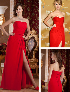 Robe de Gossip Girl rouge bustier fendue en chiffon