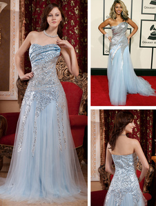 Sequin Celebrity Dress Pastel Blue Strapless A Line Red Carpet Dress With Sweep Train