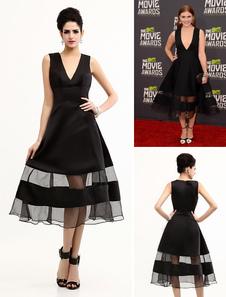 chic-tea-length-v-neck-satin-celebrity-dress