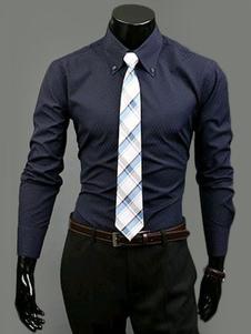 Image of Abito camicia da uomo con collo dei pulsanti in rilievo maniche lunghe