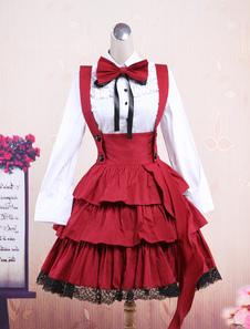 Image of Attrezzatura Lolita dolce nera e bianca in cotone con maniche lu