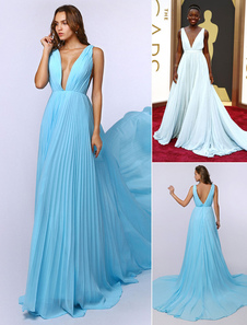 Aqua Evening Dress Plunge Neck Celebrity Dress Chiffon A Line Pleated Oscar Dress With Court Train