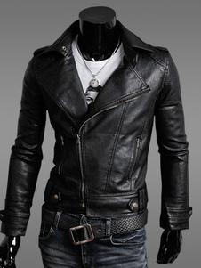 Image of Giacca da moto 2019 in pelle nera da uomo rivolto maiche lunghe