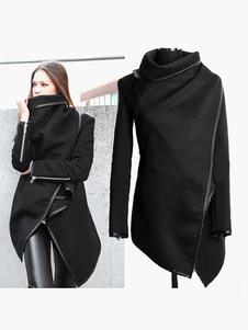 Image of Cappotto nero per donna con maniche lunghe e zip in cotone misto