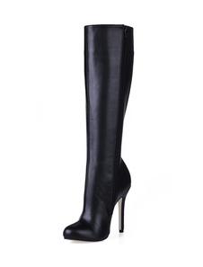 Black Stiletto Heel Knee Length PU Womens Boots