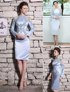Baby Blue Cocktail Dress Satin Beading Prom Dress Elegant Jewel Neck Sleeveless Sheath Party Dress