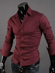 Algodón mezcla formando largas mangas de camisa Casual Collar del Turndown varonil