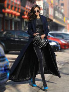 Chic manteau femme unicolore jupe parapluie  manteau longue
