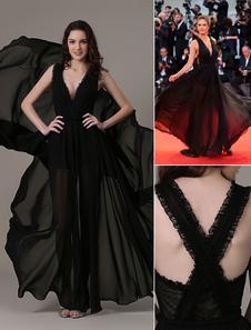 -Vestido de noche corte elegante ver a través de vestido de fiesta de Gasa