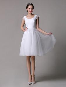 Vestito da sposa avorio di pizzo pizzo scollatura di design zip matrimonio