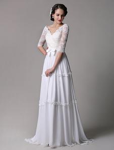 Image of Abbigliamento da sposa avorio di pizzo con scollo a V fiocchi a