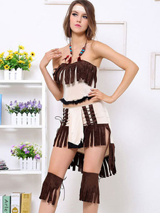 Light Tan PU Leather Sexy Native American Costume For Halloween