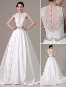2018 satin et dentelle robe boule robe de mariée plissé corsage pur et ceinture de Perles cristal avec col v profond Milanoo