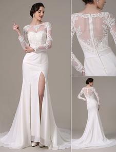 2018 vintage Lace mariage robe longue manches Bateau cou pure retour haut Slit(Veil not included) Milanoo