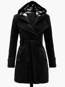 Abrigo con capucha Abrigo de lana polar de Invierno Abrigo Mujeres