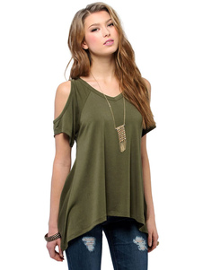 Image of Cold Shoulder Top V collo Casual t-shirt