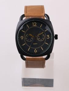 deep-brown-round-leather-strap-quartz-watches
